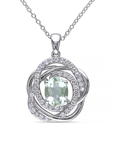 Concerto Green Amethyst and White Topaz Sterling Silver Orbit Pendant Necklace-AMETHYST-One Size