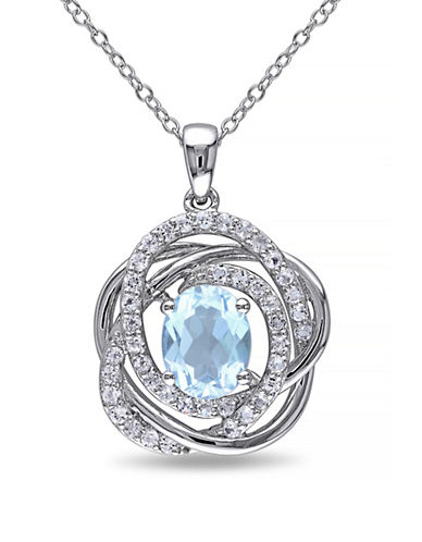 Concerto Blue and White Topaz Sterling Silver Orbit Pendant Necklace-TOPAZ-One Size