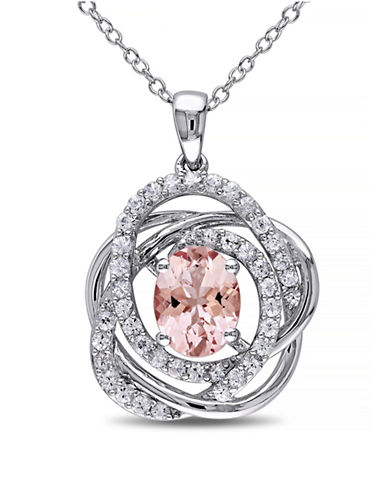 Concerto Morganite and White Sapphire Sterling Silver Orbit Pendant Necklace-PINK-One Size