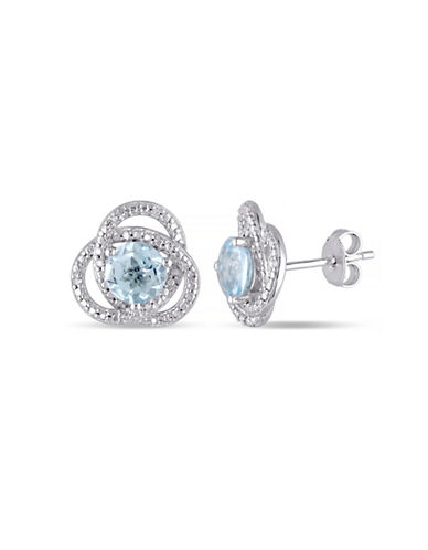 Concerto Blue Topaz and Diamond Sterling Silver Orbit Stud Earrings-TOPAZ-One Size
