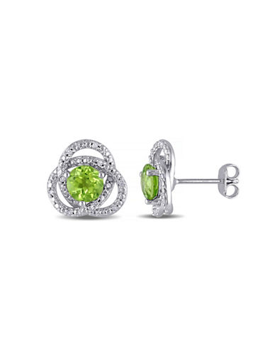 Concerto Peridot and Diamond Sterling Silver Orbit Stud Earrings-PERIDOT-One Size