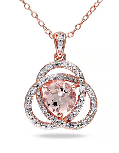 Concerto Morganite and Diamond Pink Sterling Silver Orbit Pendant Necklace-PINK-One Size