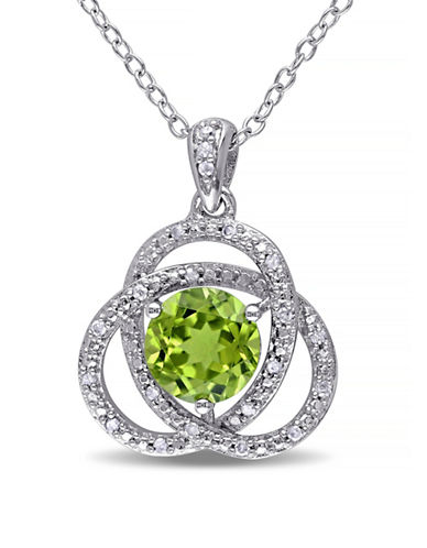 Concerto Peridot and Diamond Sterling Silver Orbit Pendant Necklace-PERIDOT-One Size