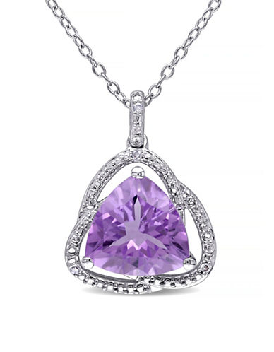 Concerto Amethyst and Diamond Sterling Silver Orbit Pendant Necklace-AMETHYST-One Size
