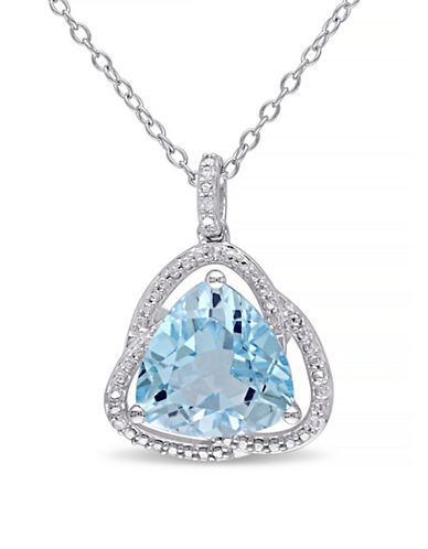 Concerto Blue Topaz and Diamond Sterling Silver Orbit Pendant Necklace-TOPAZ-One Size