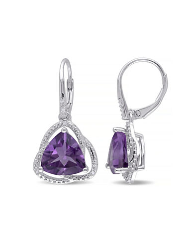 Concerto Amethyst and Diamond Sterling Silver Orbit Dangle Earrings-AMETHYST-One Size