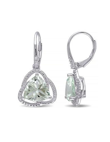 Concerto Green Amethyst and Diamond Sterling Silver Orbit Dangle Earrings-AMETHYST-One Size