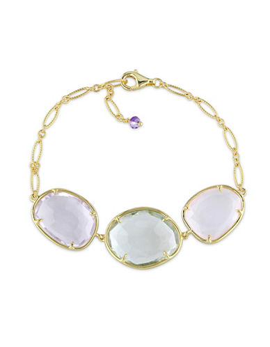 Concerto Amethyst Green and Rose Quartz Yellow Sterling Silver Bracelet-AMETHYST-One Size