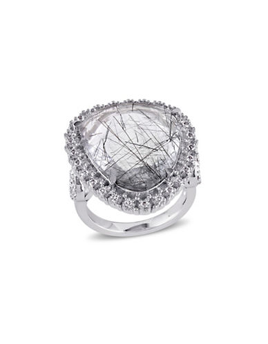 Concerto 7.85 CT TCW Black Rutile and White Topaz Sterling Silver Ring-SILVER-5
