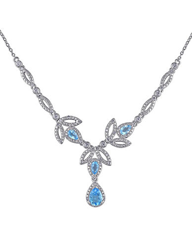 Concerto Sterling Silver and 0.2 TCW Diamond and Blue Topaz Necklace-TOPAZ-One Size
