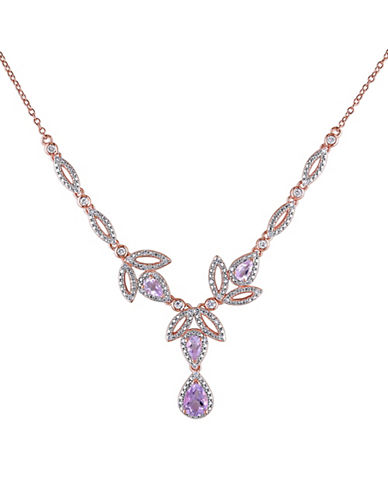 Concerto Pink Sterling Silver and 0.2 TCW Diamond  Rose de France and White Topaz Necklace-TOPAZ-One Size