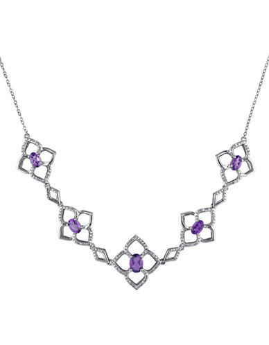 Concerto Sterling Silver and 0.16 TCW Diamond and Amethyst Clover Necklace-AMETHYST-One Size