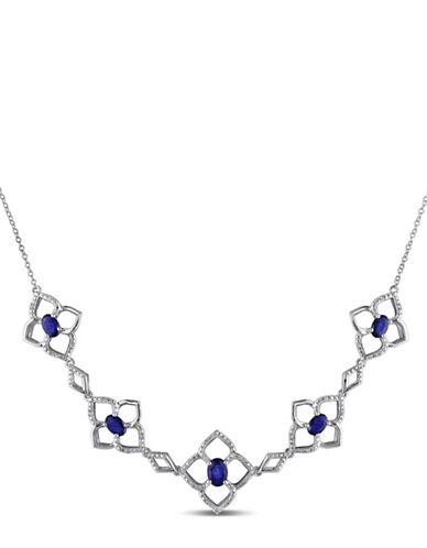 Concerto Diamond Sapphire Flower Necklace-SAPPHIRE-One Size