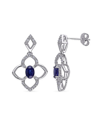 Concerto Sterling Silver and 0.16 TCW Diamond and Diffused Sapphire Clover Earrings-SAPPHIRE-One Size