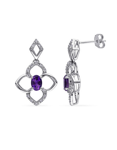 Concerto Sterling Silver and 0.16 TCW Diamond and Amethyst Clover Earrings-AMETHYST-One Size