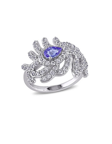 Concerto 2.80 CT TCW Tanzanite and White Topaz Sterling Silver Ring-TANZANITE-5