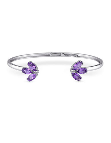 Concerto Sterling Silver Amethyst and White Topaz Bracelet-TOPAZ-One Size