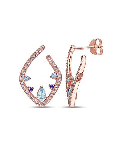 Concerto Topaz and Sapphire Rose-Goldtone Sterling Silver Earrings-MULTI-One Size