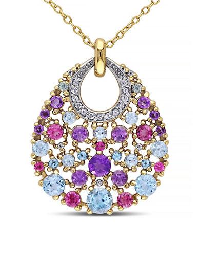 Concerto Multi-Gemstone Goldtone Sterling Silver Necklace-MULTI-One Size