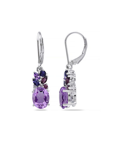 Concerto 0.018 TCW Diamond and 4.75 TCW Amethyst Sterling Silver Drop Earrings-PURPLE-One Size