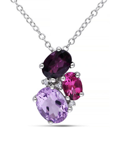 Concerto 0.015 TCW Diamond and 2.3 TCW Amethyst Sterling Silver Necklace-PURPLE-One Size