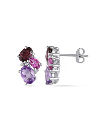 Concerto 0.03 TCW Diamond and 3 TCW Amethyst Sterling Silver Stud Earrings-PURPLE-One Size