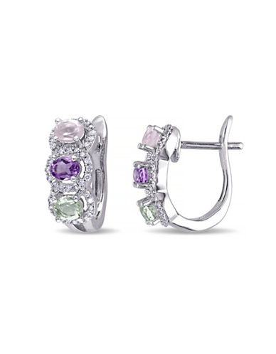 Concerto 0.25 TCW Diamond and Multi-Gemstone Sterling Silver Earrings-MULTI-One Size