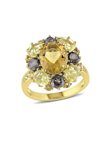 Concerto 0.02 TCW Diamond and 6.3 TCW Citrine with Quartz Goldtone Sterling Silver Ring-MULTI-5