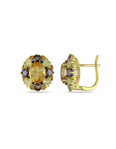 Concerto Citrine and Quartz Goldtone Sterling Silver Earrings-MULTI-One Size