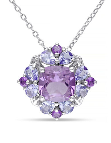 Concerto Amethyst and Tanzanite Sterling Silver Necklace-MULTI-One Size