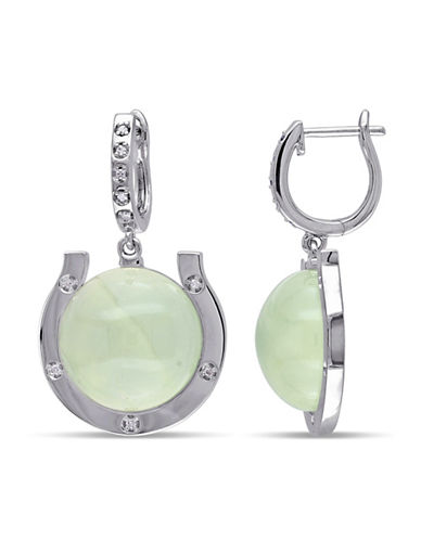 Concerto Diamond and Prehnite Horseshoe Drop Earrings-GREEN-One Size