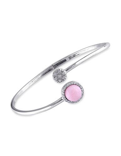 Concerto Diamond White Topaz and Pink Opal Accent Bracelet-TOPAZ-One Size