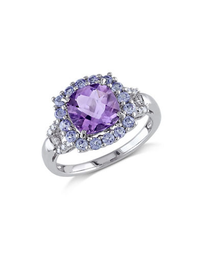 Concerto 0.06TCW Diamond and Amethyst Sterling Silver Cocktail Ring-AMETHYST-5