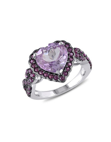 Concerto Rose de France and Purple Garnet Sterling Silver Heart Ring-PURPLE-5