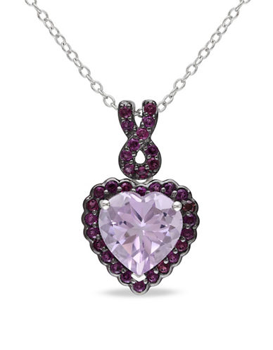 Concerto Rose de France and Purple Garnet Sterling Silver Heart Necklace-SILVER-One Size