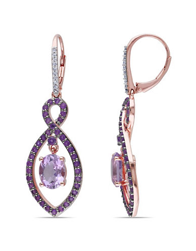 Concerto 0.1TCW Diamond and Rose de France Rose-Goldtone Sterling Silver Drop Earrings-MULTI-One Size