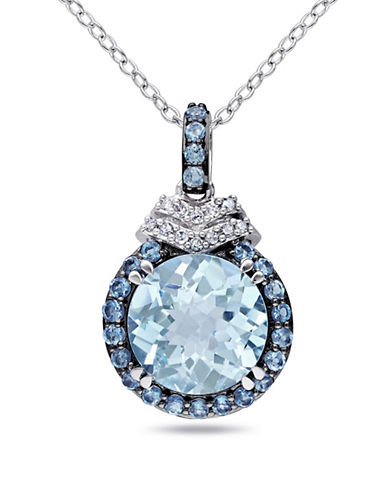 Concerto 0.06TCW Diamond and Blue Topaz Sterling Silver Necklace-BLUE-One Size