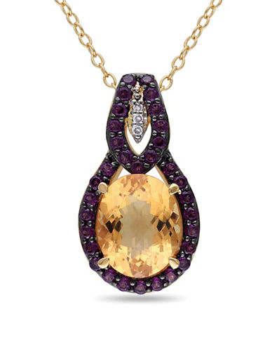 Concerto 0.015TCW Diamond and Citrine Goldtone Sterling Silver Necklace-MULTI-One Size