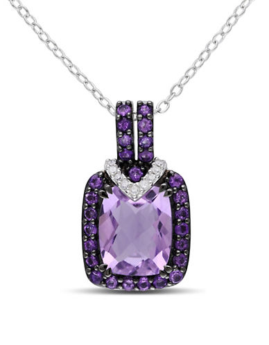 Concerto 0.05TCW Diamond and Amethyst Sterling Silver Pendant Necklace-AMETHYST-One Size