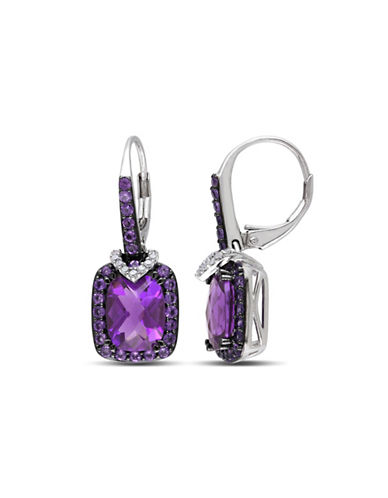Concerto 0.1TCW Diamond and Amethyst Sterling Silver Drop Earrings-AMETHYST-One Size