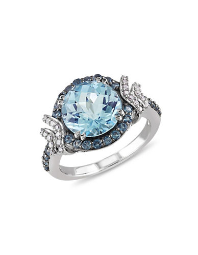 Concerto 0.125TCW Diamond and Blue Topaz Sterling Silver Ring-BLUE-8
