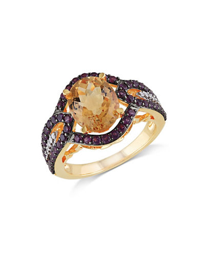 Concerto 0.05TCW Diamond and Citrine Goldtone Sterling Silver Cocktail Ring-CITRINE-7