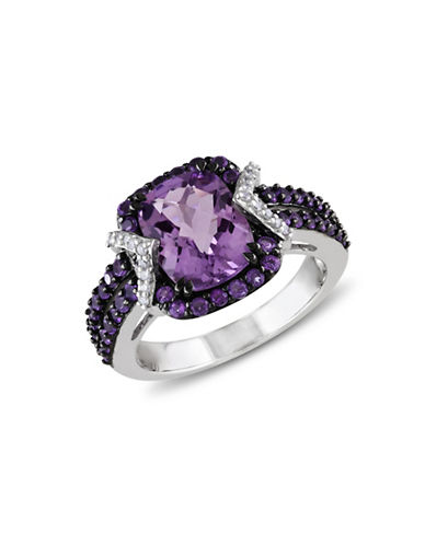 Concerto 0.1TCW Diamond and Amethyst Sterling Silver Cocktail Ring-AMETHYST-6
