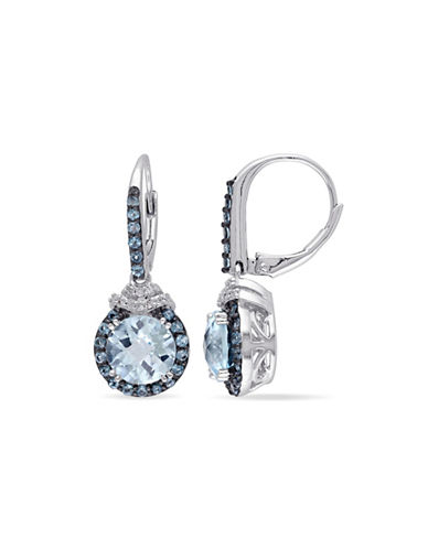 Concerto 0.1TCW Diamond and Blue Topaz Sterling Silver Drop Earrings-BLUE-One Size