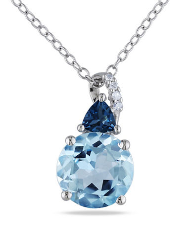 Concerto 0.02TCW Diamond and Blue Topaz Sterling Silver Necklace-BLUE-One Size