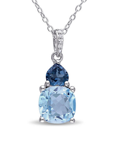 Concerto 0.022TCW Diamond and Blue Topaz Sterling Silver Pendant Necklace-BLUE-One Size