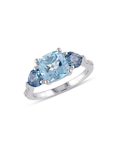 Concerto 0.03TCW Diamond and Blue Topaz Sterling Silver Cocktail Ring-BLUE-7