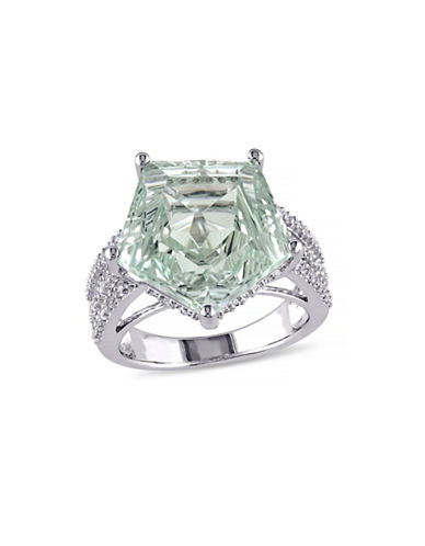 Concerto 11.58 CT TWC Green Amethyst and White Topaz Sterling Silver Ring-TOPAZ-6
