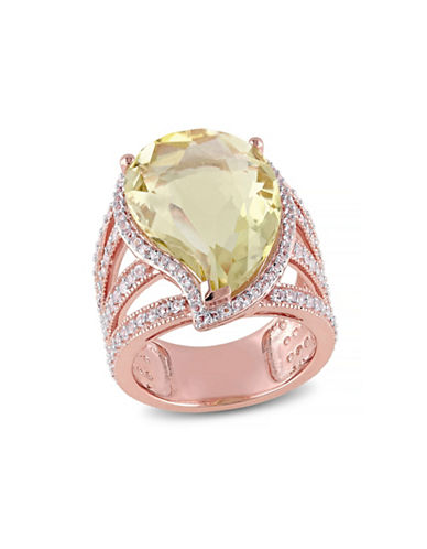 Concerto Lemon Quartz and White Topaz Rose Goldplated Ring-TOPAZ-7
