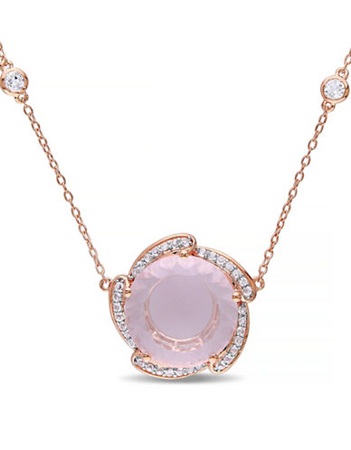 Concerto 7.85 CT TCW Rose Quartz and White Topaz Pink Plated Flower Necklace-QUARTZ-One Size